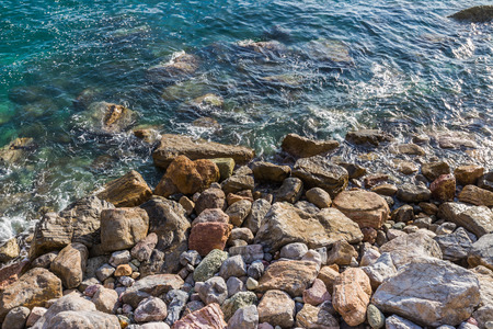 monterosso: Stone beach at Monterosso al Mare, Cinque Terre, Liguria, Italy