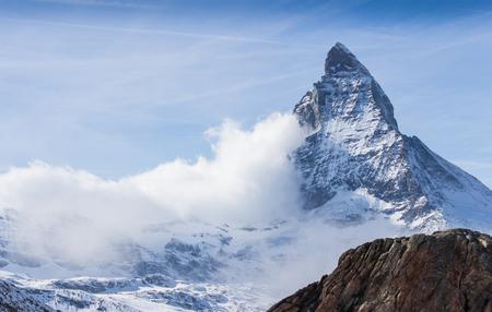 Matterhorn peak with fog at Rotenboden station in Zermatt, Switzerland