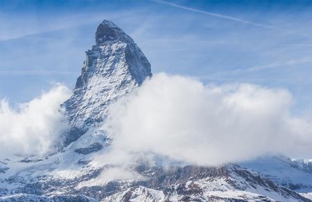 Matterhorn peak with fog in Zermatt, Switzerland