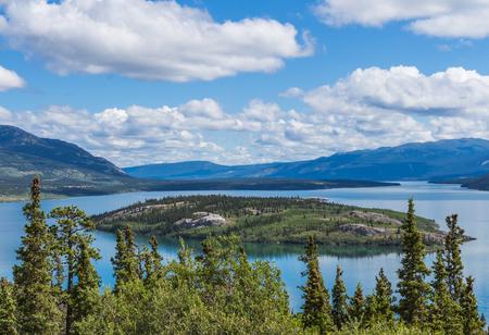 Bove island and Tagish Lake in Yukon, Canada in summer