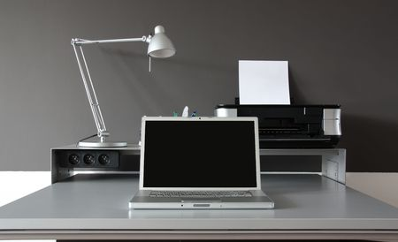 office desktop: frontal of a Home office desk Stock Photo