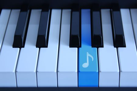 Piano with an blue marked audio key Stock Photo - 5137722