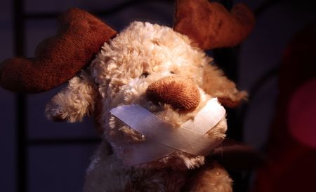 restrained: restrained stuffed animal with ducktape on his mouth