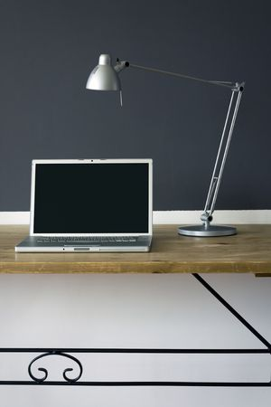 frontal Home office desk with laptop and printer Stock Photo - 5137756