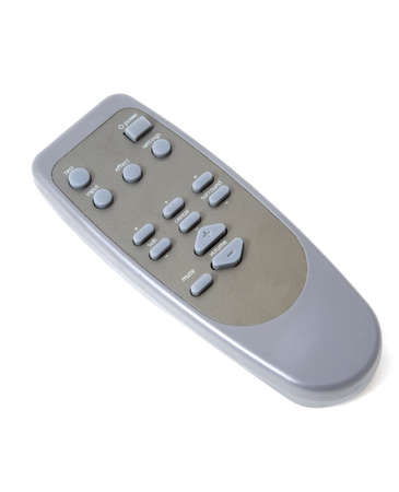 A grey and simple remote control on a white background