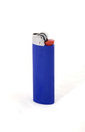 A blue lighter on a white background.