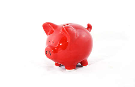 A saving piggy on a white background.