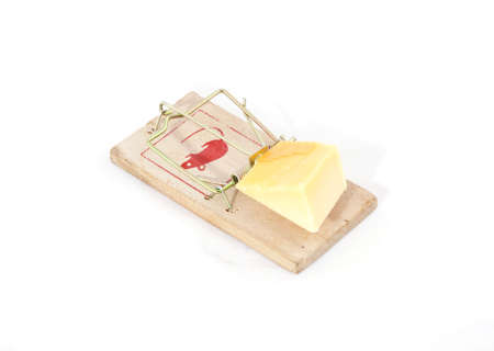 A mousetrap with cheese as bait.