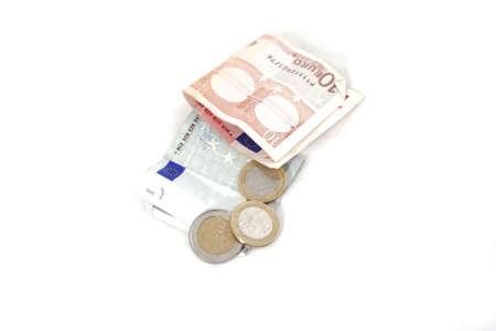 Euro money on a white background. photo