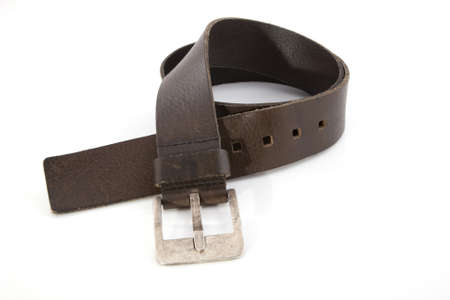A brown leather belt on a white background. Stock Photo - 7102241