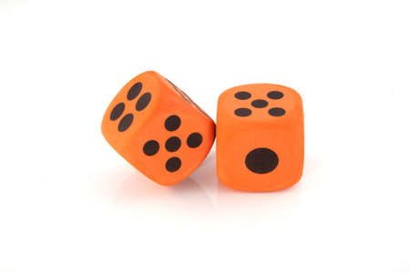 Two orange dices on a white background