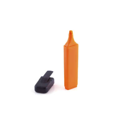 Orange marker standing up on a white background.
