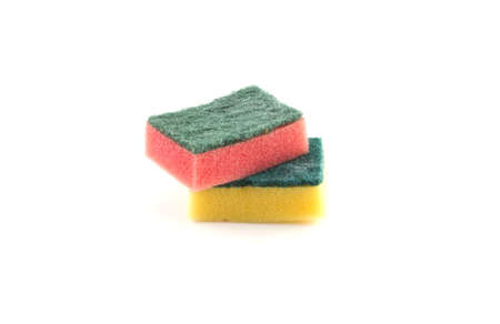 whote: Two colored sponges on a whote background. Stock Photo