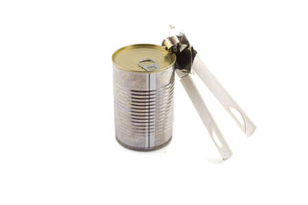 Single can with opener on a white background. photo