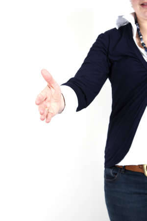 Woman is willing to shake hands on a white background. Stock Photo - 7788522