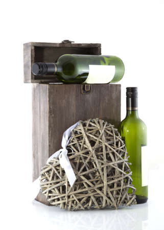 Show case of wine bottles on a white background. photo