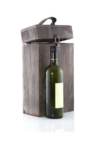 alcohol cardboard: Empty wine box with bottle on a white backgorund. Stock Photo