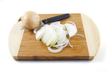 Sliced onions on a white background.