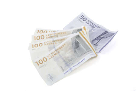 Danish money on a white background.