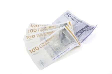 Danish money on a white background.