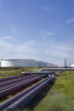 Large oil industry with blue sky Stock Photo