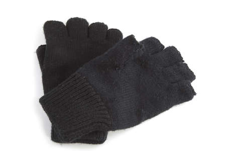Set of black gloves on a white background. photo