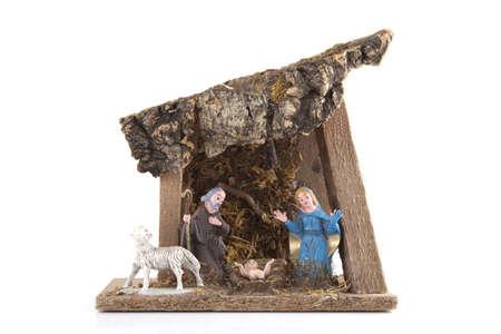 Handmade nativity on a white background photo