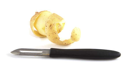 Someone peeled a potato on a white background.