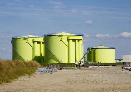 Construction zone with green silos Stock Photo - 8685817