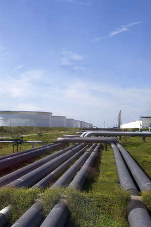 Oil pipes and silos for the petrol industry photo