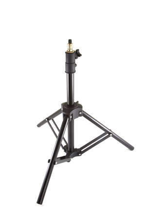 Single black tripod on a white background. Stock Photo - 8883652