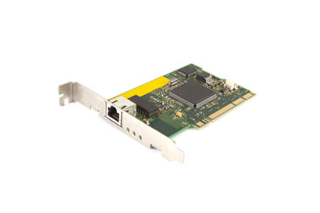 Single computer card on a white background. Stock Photo