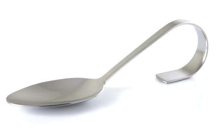 Single appetizer spoon on a white background