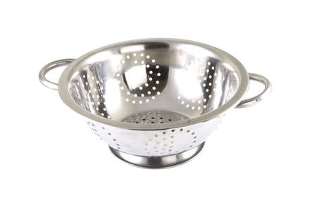 pot hole: Single chrome strainer on a white background. Stock Photo