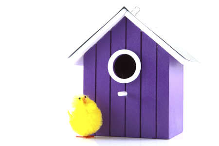Bird house with bird on a white background. Stock Photo