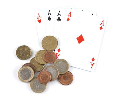 Aces and money on a white background. photo