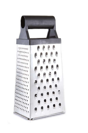 Single chrome grater on a white background. Stock Photo