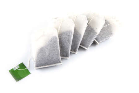 Tea bags on a white background.