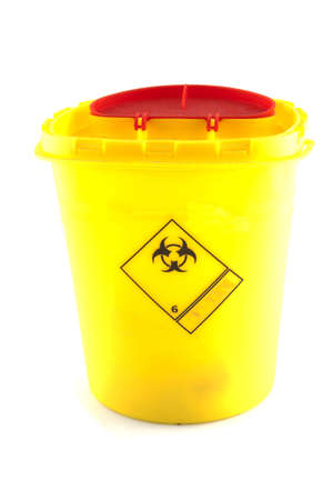 riesgo biologico: Peque�o recipiente que contiene productos de riesgo biol�gico Foto de archivo