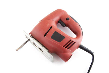 Electric red saw on a white background.