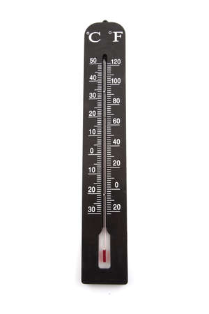 Large thermometer on a white background. Stock Photo