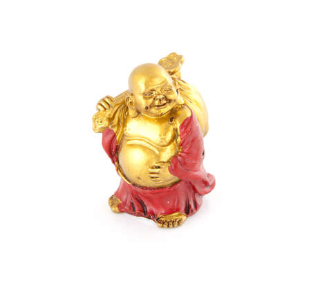 cupper: Small golden budha on a white background.