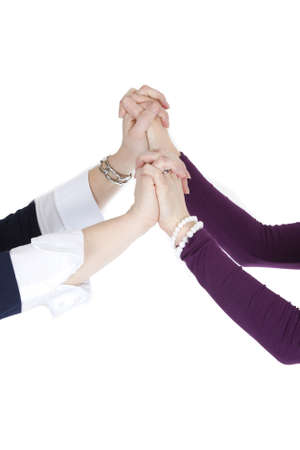 Holding hands on white background.