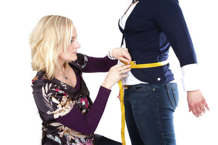 Measuring the size in case of lossing weight. Stock Photo - 11450353