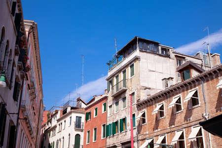 Italian buildings with a blue sky. Stock Photo