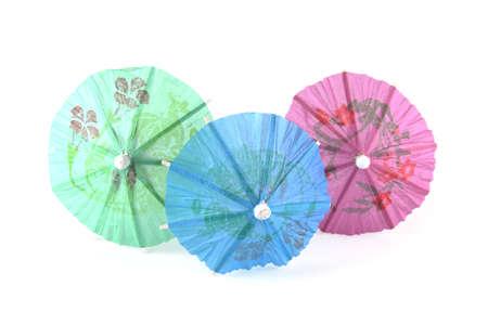Three umbrellas on a white background Stock Photo
