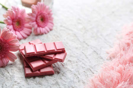 Ruby chocolate. A plate of pink chocolate.