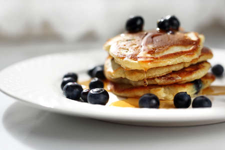 Traditional home-made pancakes, sweet, nutritious breakfast. horizontal frame Stockfoto