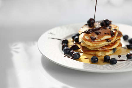 Traditional home-made pancakes, sweet, nutritious breakfast. horizontal frame Banque d'images