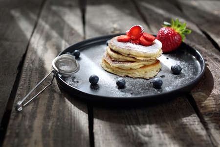 Traditional home-made pancakes, sweet, nutritious breakfast. horizontal frame Banco de Imagens
